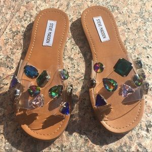 Steve Madden PVC Multi-Color Gem Slide Sandal